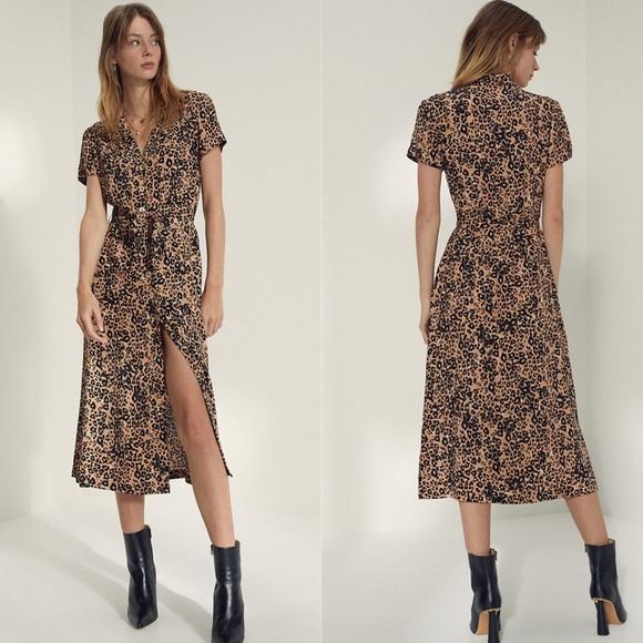 Aritzia Wilfred Leopard Shirt Dress Size XS